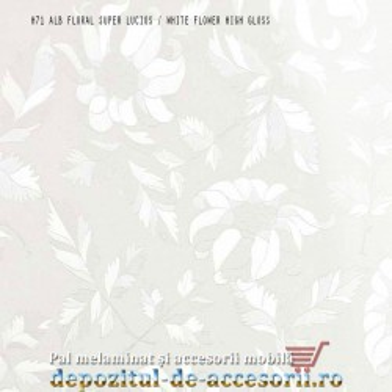 Panou MDF Alb floral H71 super lucios Isik Cicekli beyaz high gloss