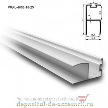 Profil Y mâner vertical aluminiu, cu perie 18mm lungimea 2,5m