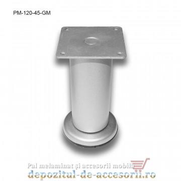 Picior metalic mobilier H120 Ø45mm gri metalizat