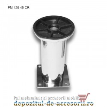 Picior metalic mobilier H120 Ø45mm cromat