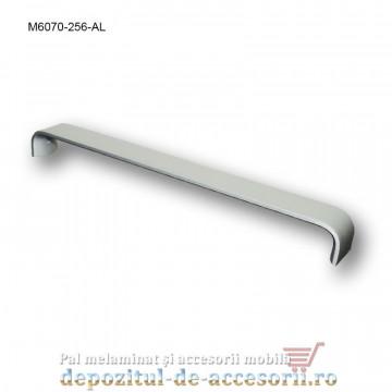 Mâner mobilier Aluminiu M6070-256-AL Satinat distanta intre gauri de 256mm