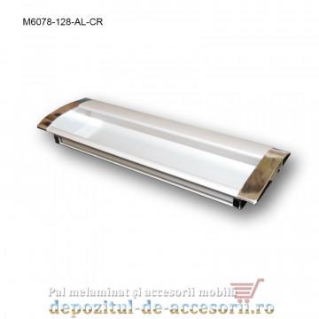 Maner mobilier ingropat aluminiu M6078-128-AL-CR cu capete cromate distanta intre gauri de 128mm
