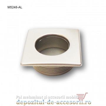 Maner mobilier ingropat plastic patrat finisaj aluminiu M5248-AL