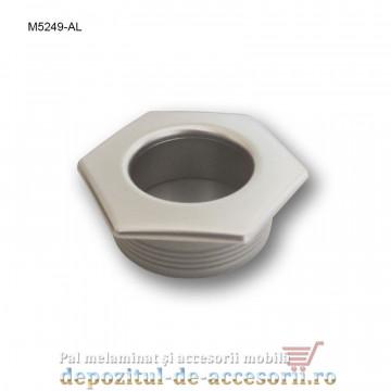 Maner mobilier ingropat plastic hexagonal finisaj aluminiu M5249-AL
