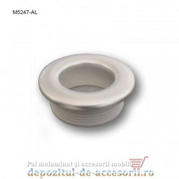 Maner mobilier ingropat plastic rotund M5247-AL finisaj aluminiu