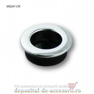 Maner mobilier ingropat tip scoica plastic rotund finisaj cromat M5247-CR