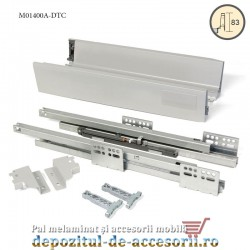 Sertar laterale metalice 400mm H 83mmTandembox extragere totala amortizare la inchidere DTC M01400A