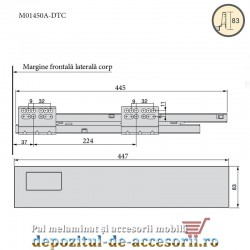 Sertar laterale metalice 450x83mm tip Tandembox extragere totala amortizare la inchidere DTC M014500A