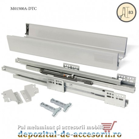 Sertar laterale metalice 500x83mm tip Tandembox extragere totală amortizare la inchidere DTC