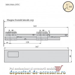 Sertar laterale metalice 350x83mm tip Tandembox extragere totală inchidere cu amortizare DTC