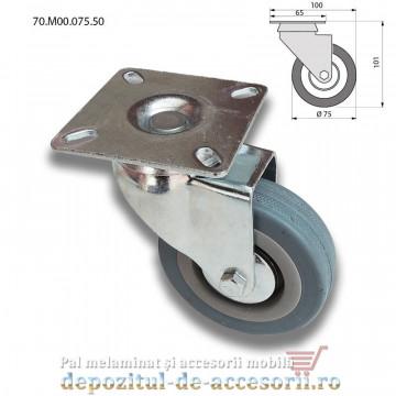 Role mobilier cauciuc Ø75mm pivotante prindere cu flansa 70.M00.075.50