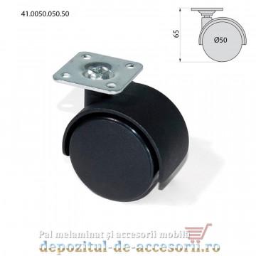 Role mobilier duble negre Ø50mm pivotante prindere cu flansa 41.0050.050.50