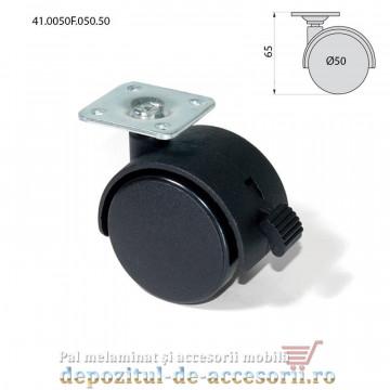 Role mobilier duble negre Ø50mm cu frana pivotante cu flansa 41.0050F.050.50