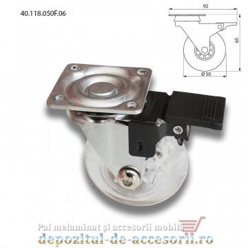 Role mobilier Ø50mm elastice transparente cu frana prindere cu flansa 40.118.050F.06