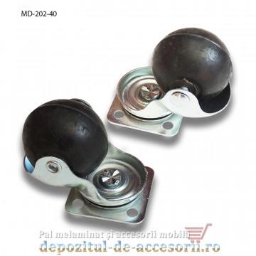 Role mobilier sferice Ø40mm pivotante prindere cu flansa MD 202 rotile cu bile