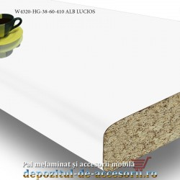 Blat de bucatarie neted Alb lucios (high gloss) 38x600x4100mm Pfleiderer W4320 HG