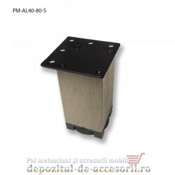 Picior mobilier H80mm profil aluminiu patrat 40mm, reglabil, sampanie