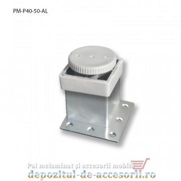 Picior mobilier H50mm profil patrat 40x40mm, reglabil, aluminiu