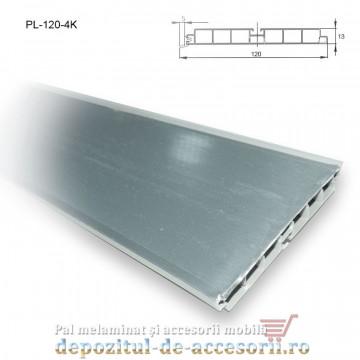 Plintă 120mm aluminiu periat, lungime 4m, Kapsan
