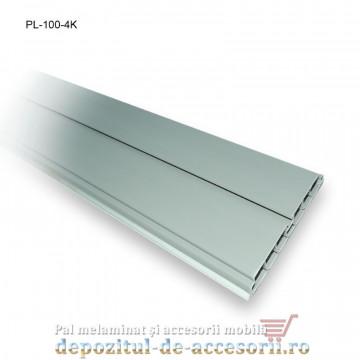 Plintă 100mm aluminiu periat, lungime 4m, Kapsan