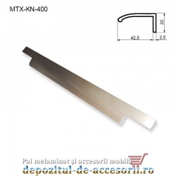 Maner mobilier MTX-KN-400, INOX 400mm sampanie