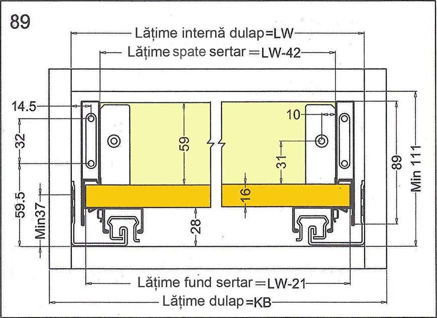 Cote si dimensiuni de luat în calcul la proiectarea sertarelor cu sisteme glisare tip tandembox cu H = 89mm 552.46.404 Hafele: