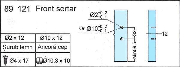 Dimensiuni si cote de proiectare corpuri si sertare cu sisteme tip tandembox, H = 89/121mm