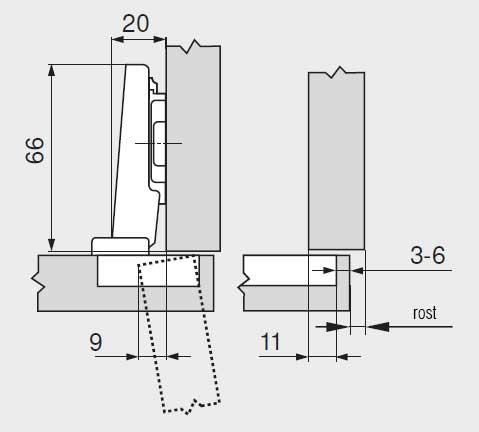 Balama usi aplicate Blum CLIP 71M2550 dimensiuni balama
