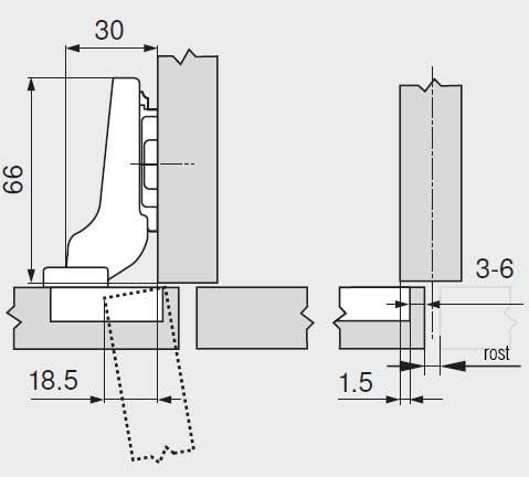 Balama usi semiaplicate Blum CLIP 71M2650 dimensiuni balama