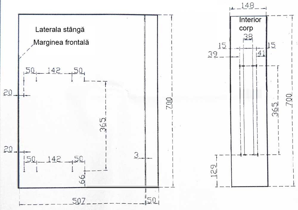 Cos Jolly 100x450mm, glisiere cu amortizare la inchidere Salice, extragere partiala - Cote de montaj corp si laterala