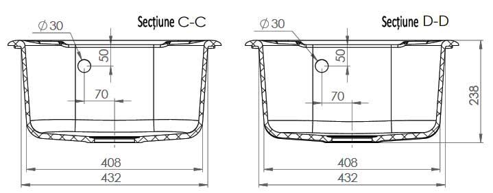 Dimensiuni chiuvetă FAT-213 Marmura compozit (sectiune BB - CC)