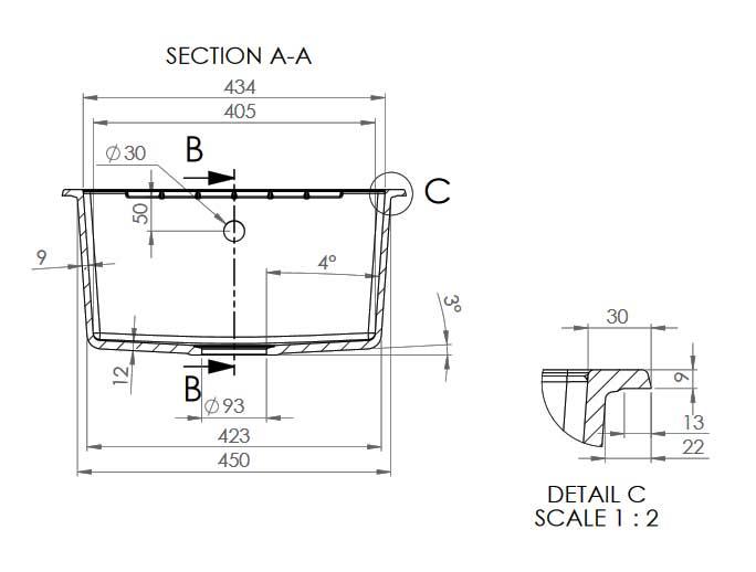Detalii dimensiuni chiuveta dubla FAT-228 Sectiune AA