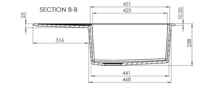 Dimensiuni chiuvetă FAT-228 Marmura compozit (sectiune BB - CC)