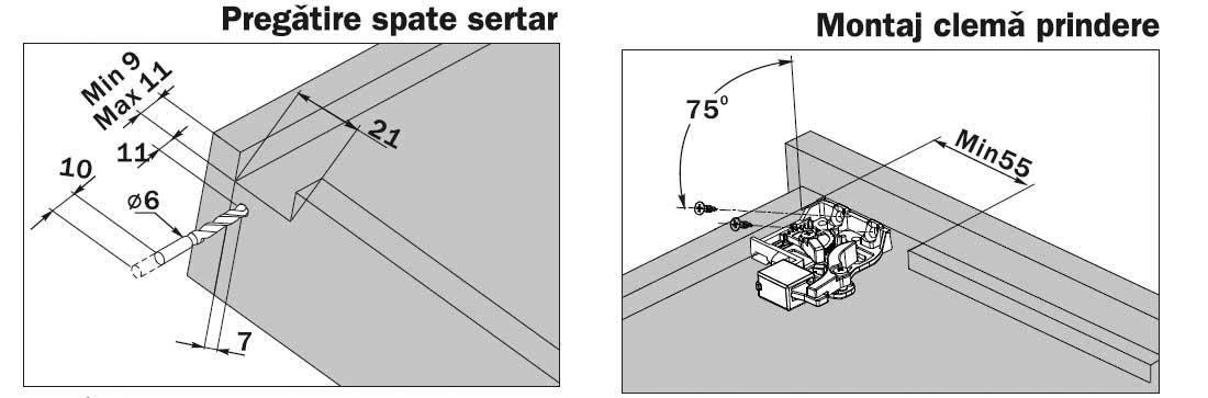 G10-XXX-H-DTC Glisiere tip tandem extragere partiala Detalii constructie si pregstire sertar