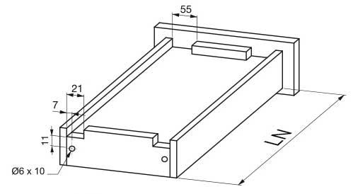 Dimensiuni si cote sertar pentru glisiere tip tandem cu extragere partialaala si soft close G10-XXX-H-DTC