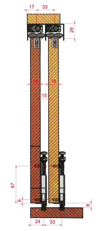 PKM70-F Detalii dimensiuni-cote usi culisante