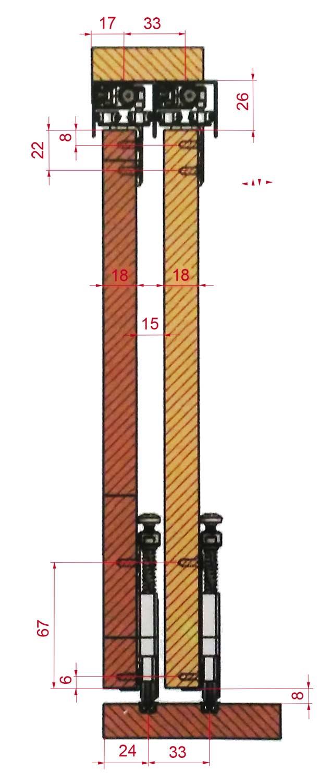 PKM70-E Detalii dimensiuni-cote usi culisante