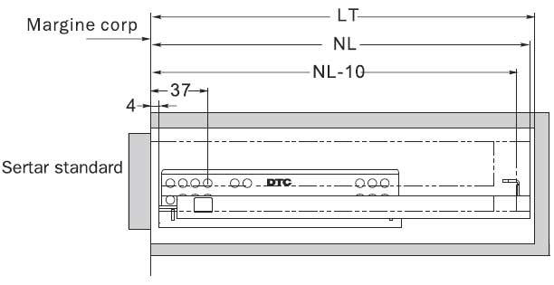 glisiere tip tandem extragere partiala G10-XXX-H DTC cote montaj sertar exterior