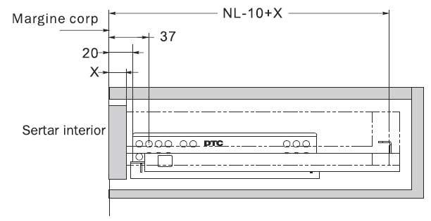 glisiere tip tandem extragere partiala G10-XXX-H DTC cote montaj sertar interior