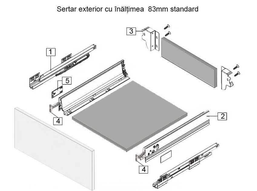 Sertare exterioare tip Tandembox H 83mm standard