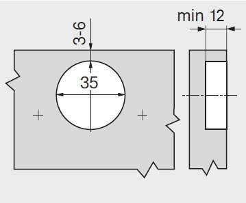 Balamale uși aplicate CLIP softclose Hafele - dimensiuni si cote gaurire oala