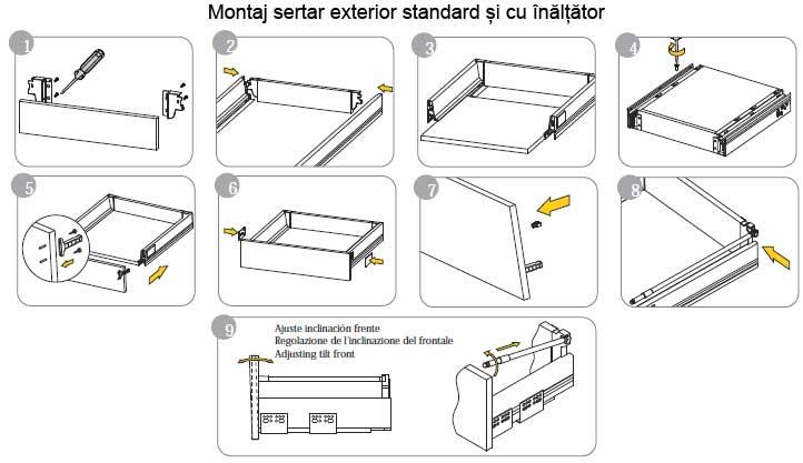 Detalii de montaj sertar tandembox standard si cu inaltare