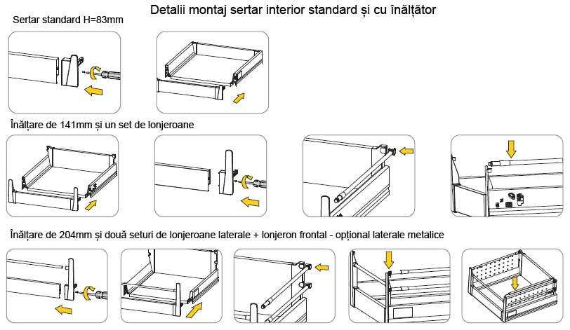 Detalii montaj sertar interior tandembox h 83mm standard si cu inaltare