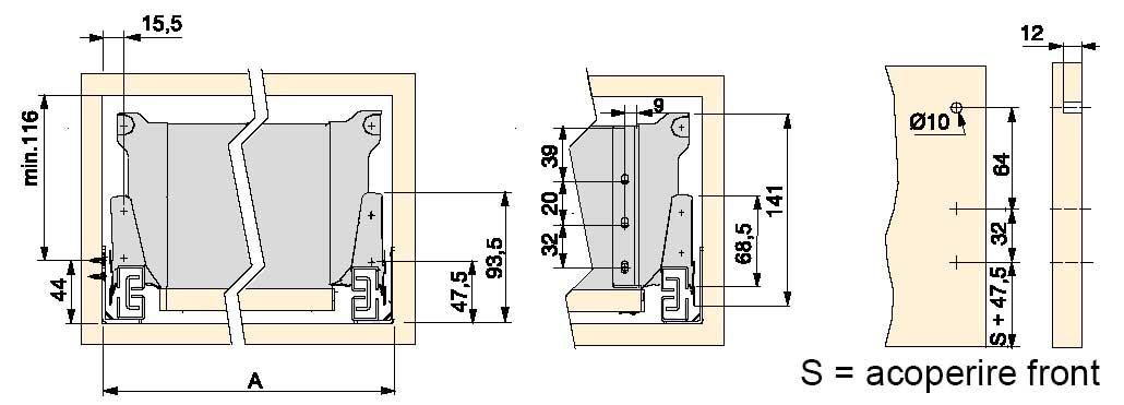 Dimensiuni si cote de proiectare corpuri si sertare cu sisteme tip tandembox, H = 141mm