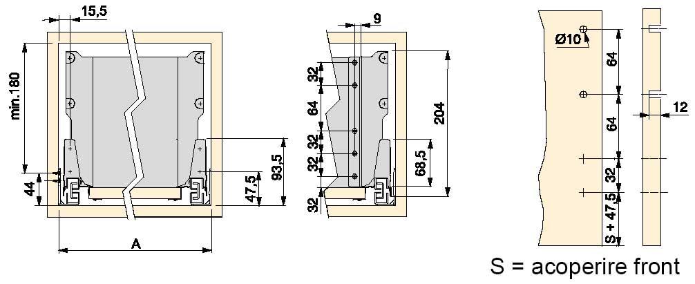 Cote si dimensiuni de luat în calcul la proiectarea sertarelor cu sisteme glisare tip tandembox cu H = 141mm: