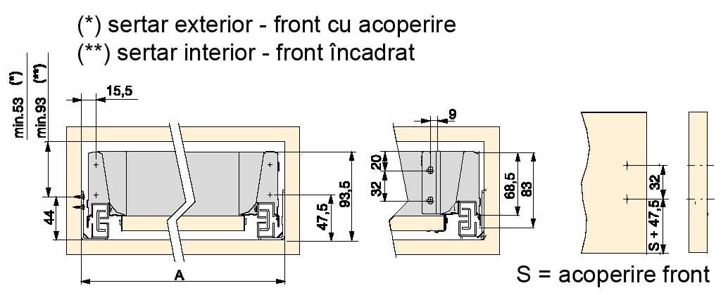 Dimensiuni si cote proiectare corpuri si sertare cu sisteme glisare tip Tandembox DTC
