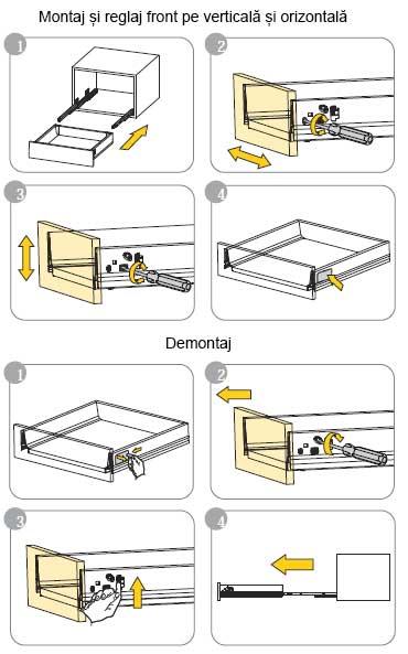 DTC Tandembox sistem de sertare metalice cu amortizare la inchidere montaj, reglaj demontare